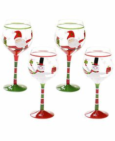 Certified International Drinkware, Set of 4 Christmas Presents Santa & Snowman Wine Glasses