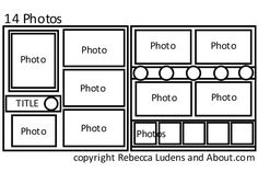 scrapbook layouts 8+ pictures | This sketch has room for up to 14 photos. To save this sketch to your ...