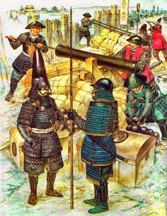 The bombardment of Osaka Castle in 1614 - The brothers Tokugawa Hidetada and Tokugawa Yoshinao discuss the status of the lines of artillery