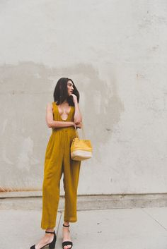 Minimal Summer style isn't complete without a great jumpsuit! Mesdemoiselle dark mustard yellow jumpsuit Minimal style Minimal outfits
