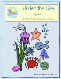 Decorate your resources with these under the sea images. This clip art pack includes 11 color and 11 black and white versions. Each image is 300 dpi and in a png format. Images include: water bubbles, crab, dolphin, fish, jellyfish, octopus, seashell, seaweed, starfish, turtle and whale.