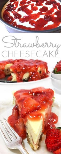 This rich & creamy Strawberry Cheesecake Recipe is the perfect make ahead dessert. Bake the cheesecake, ladle on fresh strawberry sauce before serving. #SingWithPost #CerealAnytime #ad