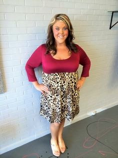 Burgundy and Leopard Dress - #blondellamydean #plussizefashion #plussize #curves