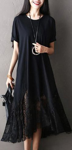 US$20.99 Casual #women Lace Patchwork Short Sleeve O-Neck Maxi Dress
