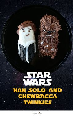 Cute Star Wars No-Bake Party Treats! How to make Han Solo and Chewbacca Twinkie Cakes. by @livinglocurto Easy cakes to make for a birthday party or kids snack! Make some for The Force Awakens Star Wars watching party.