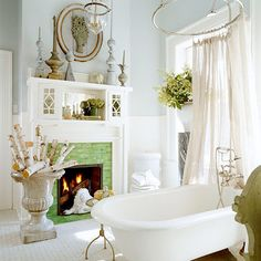 A fireplace *and* a bathtub in the same room? I would never leave this room!
