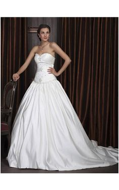 Ball Gown Sweetheart Cathedral Train Satin Wedding Dress With Ruched Waist