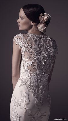 AMARE COUTURE #bridal ss 2016 boat jewel neckline cap sleeves fully embellished 2 in 1 detachable a line overskirt trumpet tulle #wedding dress beaded back (mila) zbv