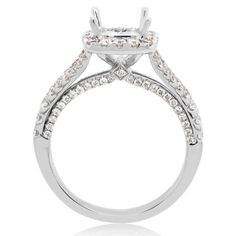 This diamond and split shank mounting is made in 18 karat white gold. The ring features ninety-six round brilliant cut small prong set diamonds. Ring Settings Types, Ring Settings Only, Halo Diamond Engagement Ring, Engagement Ring Settings, Falls Church, Split Shank, White Gold Diamonds, Diamond Shapes, Jewelry Rings