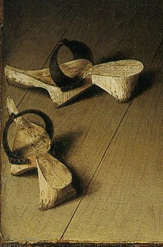 In the medieval period pattens were used as galoshes, with wood soles shaped to match the soles of the shoes they were to be worn with. The patten was shaped to be able to strap over the undershoe and protect it from wear and weather. (this is a detail of Jan van Eyck's painting Arnolfini Wedding from 1434).