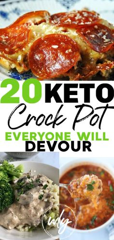 cooking recipes 20 keto crock-pot recipes that make for easy dinners! Whether you want low carb slow cooker chicken dinners, BBQ, keto pizza casserole, or keto crockpot soup recipes, your whole family will love these healthy ketogenic meal ideas! Keto Crockpot Recipes, Ketogenic Recipes, Diet Recipes, Healthy Recipes, Ketogenic Diet, Crockpot Low Carb Meals, Pizza Recipes, Good Crock Pot Recipes, Easy Diabetic Recipes