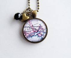 Map of Kingston Necklace  Custom Map Necklace  by OxfordBright