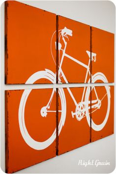 Large Bike Wall Art - The Distressed Retro Bicycle Screen Print( teal and grey or black for josh's room!) Large piece of fabric, fabric paint or canvas and paint his bike. ( projector project)