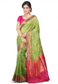 Pur Chanderi Soie Banarasi Handloom Saree in Green