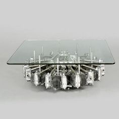 Old plane engine used as coffee table base