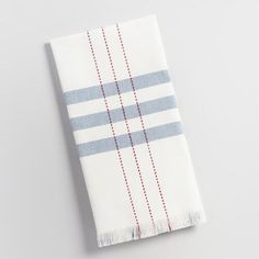 One of my favorite discoveries at WorldMarket.com: Blue Stripe with Red Running Stitch Kitchen Towel