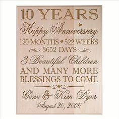 10th Wedding Anniversary Wall Plaque Personalized Maple 10 Year