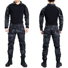 Tactical Military Bdu Uniform Clothing Army Tactical Shirt Jacket Pants With Knee Pads Camouflage Hunting Clothes Kryptek Black Mens Tactical Pants, Tactical Uniforms, Tactical Wear, Tactical Clothing, Camouflage Cargo Pants, Uniform Shirts, Hunting Clothes, Shirt Jacket, Sport Outfits