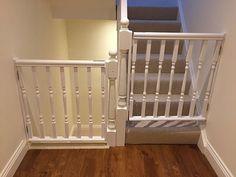 Diy Safety Gates, Safety Gates For Stairs, Baby Gate For Stairs, Dog Stairs, Baby Gates, Child Gates, Dog Gates, Wooden Stair Gate, Kids Gate