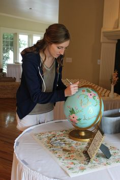 Custom Hand-Painted Globe Guest Book 10 globe by glimfeathers