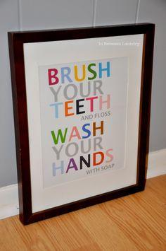 In Between Laundry: Easy Bathroom Art ! Love this idea! Bathroom Kids, Kids Bath, Simple Bathroom, Bathroom Sayings, Wall Sayings, Ikea Bathroom, Glass Bathroom, Design Bathroom, Small Bathrooms
