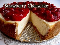 Fresh, scrumptious strawberry covers this mouth watering dessert.
