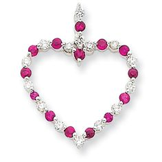 IceCarats 14K White Gold, Diamond and Ruby Heart Pendant   Jewelry   Accessories   Pretty in Pink   Fashion   Necklace   Gift   #IceCarats   See More - www.IceCarats.com