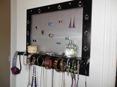 Items similar to Wall Jewelry Organizer, Wood Black Design, Jewelry Organizer for Your Home! on Etsy Jewelry Wall, Jewelry Organizer Wall, Wooden Jewelry, Jewelry Organization, Paint Types, Wedding Gifts For Couples, Wall Hanger, Jewellery Display