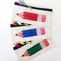 Personalised coloured pencil case in red, blue and green