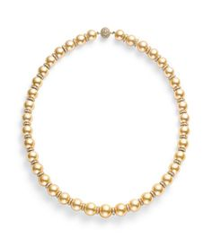 Golden South Sea Cultured Pearl Strand with Diamond Rondelles - Strands - Categories | Mikimoto America