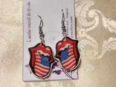 Boucles d'oreille rolling stone drapeau Américain : Boucles d'oreille par l-atelier-creatif-de-aude