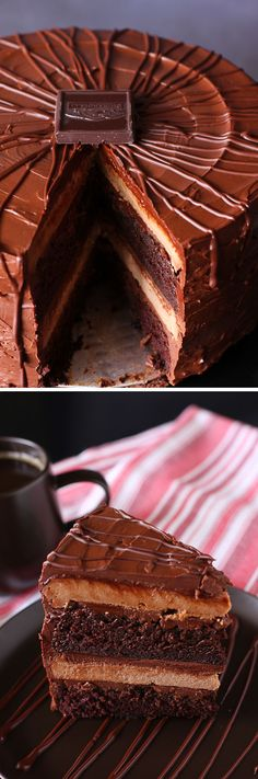 Super Fancy Chocolate Cheesecake Cake: This recipes combines a moist, rich layer cake with a tangy chocolate cheesecake to make a super fancy, super delicious holiday masterpiece. If you love chocolate, this is your dessert! Cake for boss Cheesecake Cake, Chocolate Cheesecake, Chocolate Desserts, Cheesecake Recipes, Dessert Recipes, Chocolate Chocolate, Chocolate Frosting, Chocolate Roulade, Chocolate Smoothies