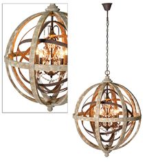 Large Round Wooden Orb Chandelier with Metal Orb Detail and Crystal Droplets