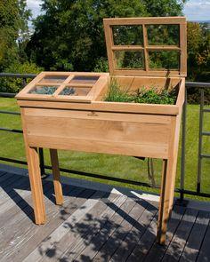Houten broeikas op wieltjes. Handig voor op het terras of balkon! #garden #cultivate