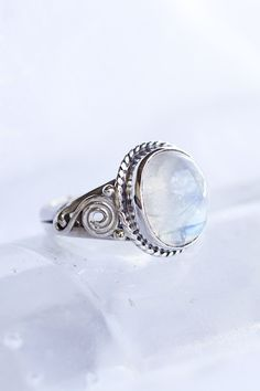 moonstone + sterling silver ring + spirals