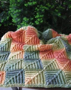Mitered blanket made with self-striping yarn. The post Mitered blanket made with self-striping yarn. appeared first on Best Knitting Pattern. Knitting Stitches, Knitting Patterns Free, Baby Knitting, Crochet Patterns, Free Knitting, Dress Patterns, Yarn Projects, Knitting Projects, Crochet Projects