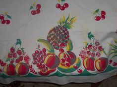 Vintage Tablecloth Cherries Fruit Cottage Apples Red and Gree Rasberrys EX WOW   eBay