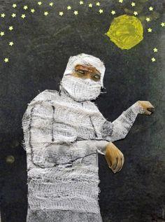 foto van leerling in mummystand, daarna met krijt, verf en verbandgaas vermummifed wauw! ArtZ KiddoZ
