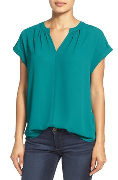 I'd really like to see this top in some bright solids or brighter patterns for spring, size Medium in these please! :) Pleione Split Neck Top (Regular & Petite) (Nordstrom Exclusive)