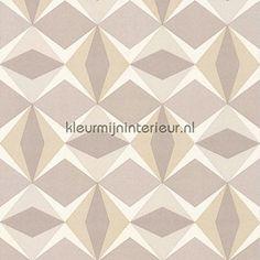 Zweedse ruiten grijs beige retro behang