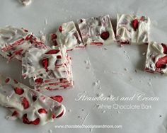 Strawberries and Cream White Chocolate Bark from www.ChocolateChocolateandmore.com -how can you go wrong with strawberries and white chocola...