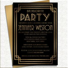 1920's Glam Bachelorette Party Invitations by PineAndBerryShop, $15.00