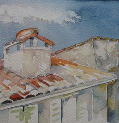 Frans huisje, Dordogne. 10 x 10 cm.    Door Tineke Hiem.