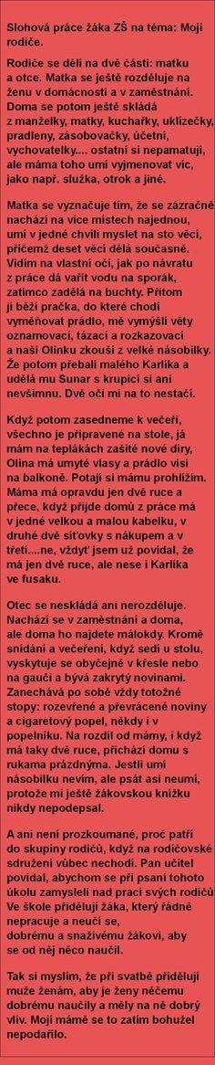 Slohová práce žáka ZŠ na téma: Moji rodiče. | torpeda.cz - vtipné obrázky, vtipy a videa
