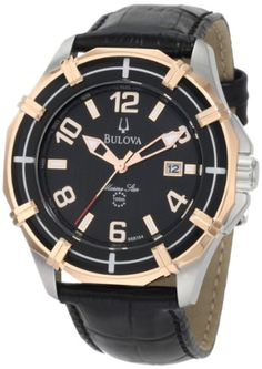 Supple rose gold-plated stainless steel introduces stark contrast to the black leather strap and black dial of this Sport Marine Star watch by Bulova. Bulova Mens Watches, Gents Watches, Casual Watches, Watches For Men, Wrist Watches, Emporio Armani, Diesel, Star Watch, Black Leather Watch