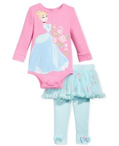 Nannette 2-Pc. Cinderella Bodysuit & Tutu Leggings Set, Baby Girls (0-24…