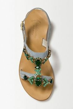 Dreamy gem sandals. Emerald Shine Sandals - anthropologie.eu
