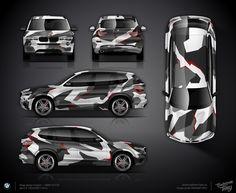 Geometric camo wrap design for BMW X3 F25