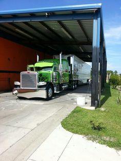 Beautiful green Peterbilt semi truck