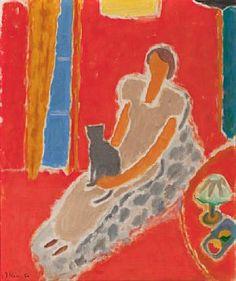 "Johs Rian (Norwegian, - ""Dame med sort katt"" (Lady with a black cat), 1952 Matisse Art, Inspiring Art, Shades Of Red, Naive, Cat Love, Cat Art, Worship, Illustration Art, Auction"